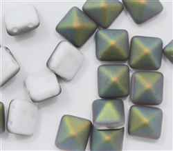 12mm Czech Glass Pyramid 2-Hole Beadstud - BST12-03000-28171 - Chalk White Vitrail Matted - 1 Bead