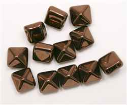 12mm Czech Glass Pyramid 2-Hole Beadstud - BST12-23980-14415 - Dark Bronze - 1 Bead