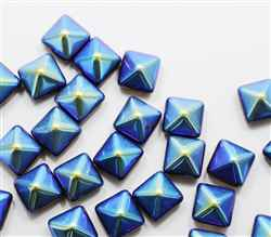 12mm Czech Glass Pyramid 2-Hole Beadstud - BST12-23980-14415-28701 -  - 1 Bead
