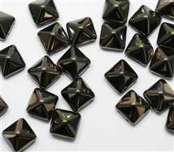 12mm Czech Glass Pyramid 2-Hole Beadstud - BST12-23980-22601 - Jet - Valentinite - 1 Bead