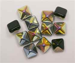 12mm Czech Glass Pyramid 2-Hole Beadstud - BST12-23980-28001 - Jet Marea - 1 Bead