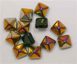 12mm Czech Glass Pyramid 2-Hole Beadstud - BST12-23980-29500 - Jet Sliperit - 1 Bead