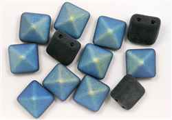 12mm Czech Glass Pyramid 2-Hole Beadstud - BST12-23980M-28701 - Jet Matte AB - 1 Bead