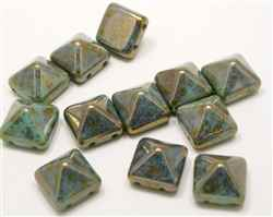 12mm Czech Glass Pyramid 2-Hole Beadstud - BST12-63120-15615 - Turquoise Bronze - 1 Bead