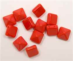 12mm Czech Glass Pyramid 2-Hole Beadstud - BST12-93400 - Coral - 1 Bead