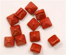 12mm Czech Glass Pyramid 2-Hole Beadstud - BST12-93400-15495 - Coral Lumi Pecan - 1 Bead
