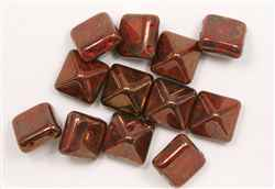 12mm Czech Glass Pyramid 2-Hole Beadstud - BST12-93400-15615 - Coral Bronze - 1 Bead