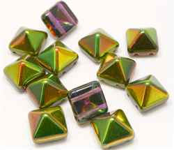 12mm Czech Glass Pyramid 2-Hole Beadstud - BST12-95000 - Magic Orchid - 1 Bead