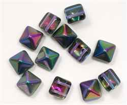 12mm Czech Glass Pyramid 2-Hole Beadstud - BST12-95100 - Magic Blueberry - 1 Bead