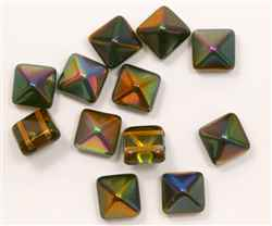 12mm Czech Glass Pyramid 2-Hole Beadstud - BST12-95300 - Magic Amber - 1 Bead