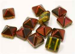 12mm Czech Glass Pyramid 2-Hole Beadstud - BST12-95400 - Magic Flame - 1 Bead