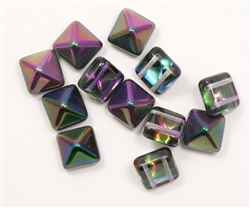 12mm Czech Glass Pyramid 2-Hole Beadstud - BST12-95500 - Magic Lilac - 1 Bead