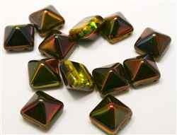 12mm Czech Glass Pyramid 2-Hole Beadstud - BST12-95600 - Magic Ruby - 1 Bead