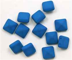 12mm Czech Glass Pyramid 2-Hole Beadstud - BST12-DNMB - Dark Neon Mykonos - 1 Bead