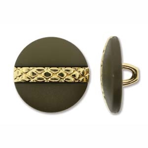 Metalized 18mm Brown/Gold Plastic Button - 1 Piece