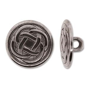 Antique Silver Full Metal 18mm Button - 1 Piece