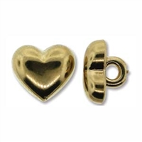 Metalized 11mm Gold Plastic Heart Button - 1 Piece