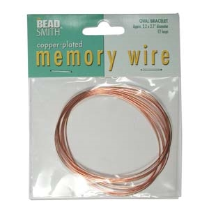 Copper Plated Oval Bracelet Memory Wire Bracelet - 2.2x2.7 inches - 12 Turns