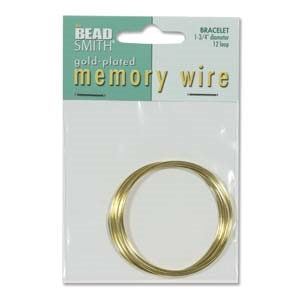 Gold Plated Bracelet Memory Wire - 1 3/4 inches - 12 Turns
