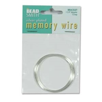 Silver Plated Bracelet Memory Wire - 1 3/4 inches - 12 Turns