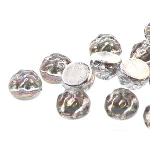CCB0700030-29436 - Baroque 2-Hole 7mm Round Cabochon - Backlit Spectrum - 12 Count