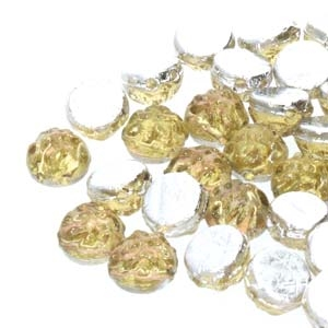 CCB0710010-29536 - Baroque 2-Hole 7mm Round Cabochon - Backlit Citrine/Pink - 12 Count