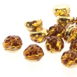 CCB0710060-26442 - Baroque 2-Hole 7mm Round Cabochon - Backlit Amber/Topaz - 12 Count