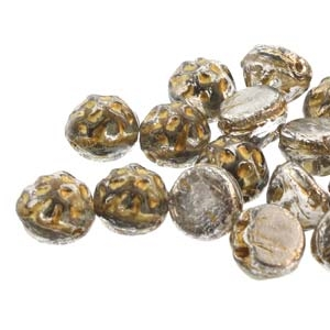 CCB0726732-54302 - Baroque 2-Hole 7mm Round Cabochon - Silver Splash Backlit Petro - 12 Count