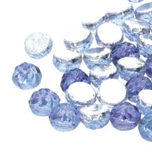 CCB0730010-26536 - Baroque 2-Hole 7mm Round Cabochon - Backlit Violet Ice - 12 Count