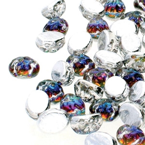 CCB8600030-26601 - Baroque 2-Hole Oval Cabochon 8x6mm - Backlit Petro - 12 Count