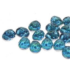 CCB8660020-29801 - Baroque 2-Hole Oval Cabochon 8x6mm - Backlit Aquasol - 12 Count