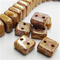 6mm Chalk Bronze 2 Hole Lumi Chexx Beads - 4 count