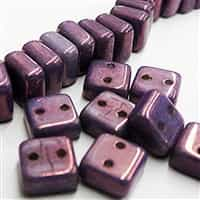 6mm Purple Luminous 2 Hole Chexx Beads - 4 count
