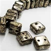 6mm Antique Chrome 2 Hole Chexx Beads - 4 count