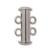 Silver Plated Multi Strand 16mm 2 Strand Slide Clasps 5 Pack