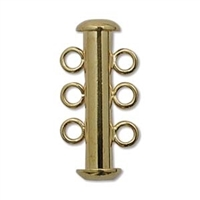 Gold Plated Multi Strand 21mm 3 Strand Slide Clasps 5 Pack