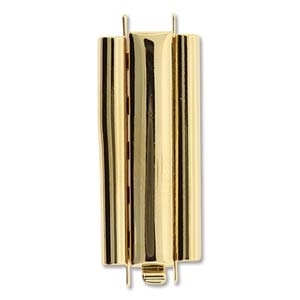 BeadSlide Smooth Plain 10mm x 29mm Gold Plated Slide Clasp