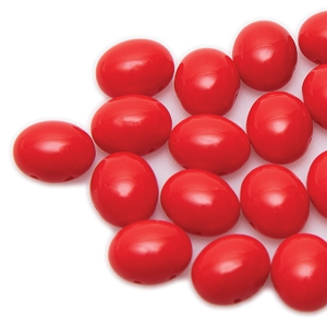 CNDOV101293180 - PRECIOSA Candy Oval 10mm x 12mm Beads - Red - 10 pcs