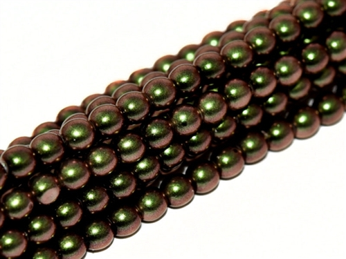 Pearl Coat Round 3mm : CP3-19034 - Pearl - Polynesian Jet Olive Mauve - 50 pcs