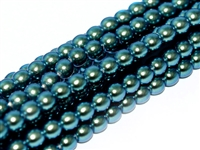 Pearl Coat Round 3mm : CP3-19044 - Pearl - Polynesian Jet Teal Green - 50 pcs