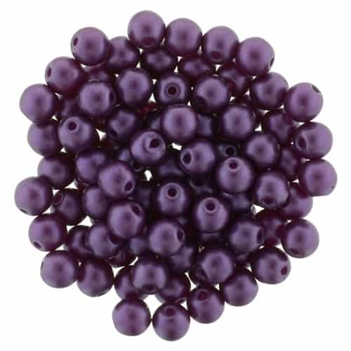 Pearl Coat Round 4mm : CP4-25032 - Purple Velvet - 50 pieces