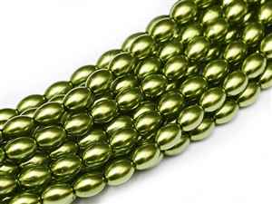 Pearl Coat Rice 6mm x 4mm : CRP6-10158 - Green Apple - 25 Pearls