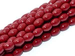 Pearl Coat Rice 6mm x 4mm : CRP6-48265 - Cranberry - 25 Pearls