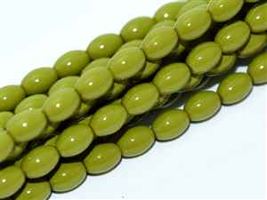 Pearl Coat Rice 6mm x 4mm : CRP6-48565 - Pea Green - 25 Pearls