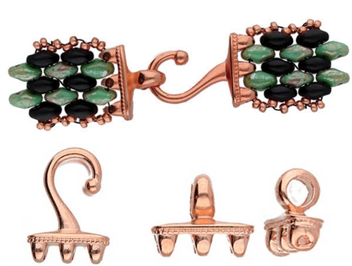 CYM-SD-012437-RG - Mesaria III - SuperDuo Hook & Eye Clasp - Rose Gold Plated -  1 Set