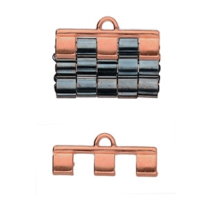 CYM-TL-012210-RG - Piperi III - Tila Bead Ending - Rose Gold Plated -  1 Piece
