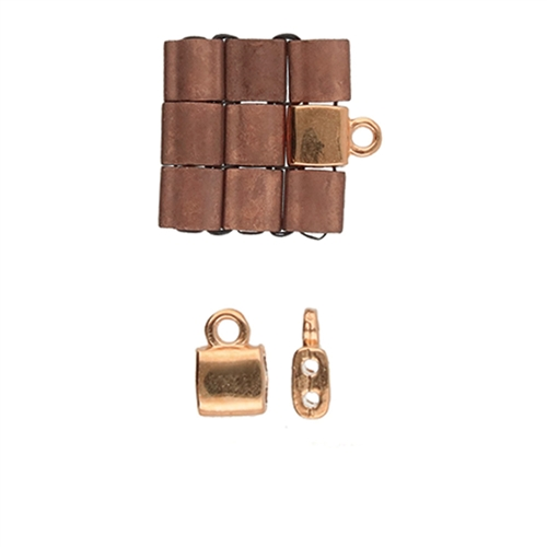 CYM-TL-012359-RG - Piperi  - Tila Bead Ending - Rose Gold Plated -  1 Piece