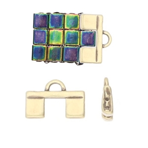 CYM-TL-012362-AB - Piperi II - Tila Bead Ending - Antique Brass Plated -  1 Piece
