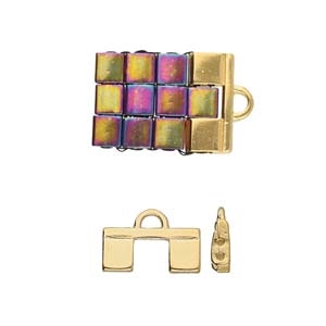 CYM-TL-012362-GP - Piperi II - Tila Bead Ending - 24kt Gold Plated -  1 Piece