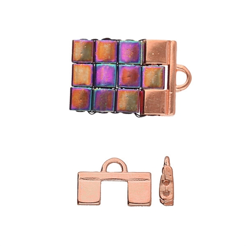CYM-TL-012362-RG - Piperi II  - Tila Bead Ending - Rose Gold Plated -  1 Piece